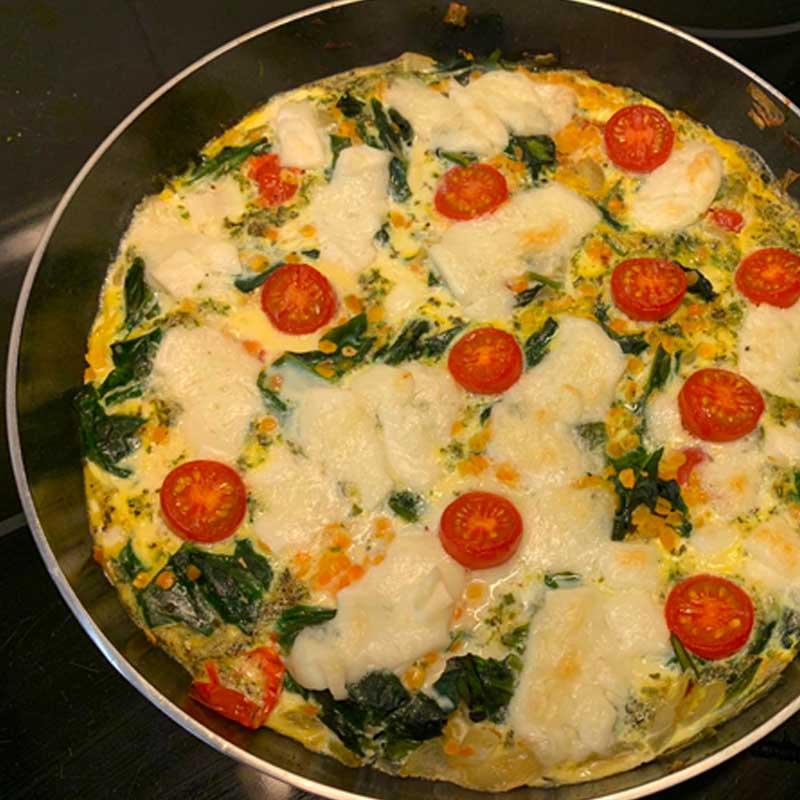 Recept frittata met linzen en spinazie